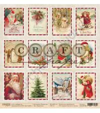 Бумага для скрапбукинга односторонняя коллекция Рождество, 30.5х30.5 см, 190 гр/м, лист Карточки