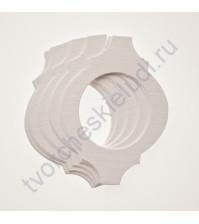 Набор высечек (вырубок) из текстурированного картона Фигурная рамочка, плотность 280 гр/м2, 10 элементов, цвет белый, фактура Лен