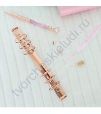 Механизм кольцевой O-образный на 6 колец с триггером и винтами А5, 35 мм, цвет розовое золото