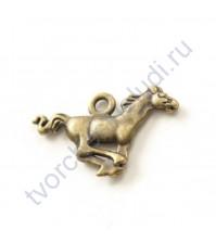 Подвеска металлическая Лошадь, 27х18 мм, цвет бронза