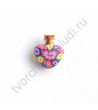 Стеклянная бутылочка с пробкой в форме сердца, 23х23х8 мм, цвет яркие цветы на синем