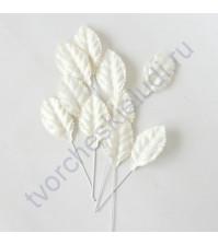 Листья розы белые средние 4.5х2.5 см, 10 шт