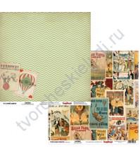 Бумага для скрапбукинга двусторонняя 30.5х30.5 см 180 гр/м, коллекция Старый цирк, лист Афиши