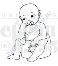 ФП печать (штамп) Малыш в раздумьях 3.5х4.6 см