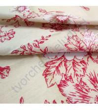 Холщевая ткань с рисунком Цветы красные, 100% хлопок, 50х50 см