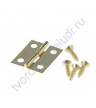 Петля для шкатулки с прямыми углами и 4-мя винтами, 10х15 мм, цвет золото