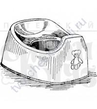 ФП печать (штамп) Горшок с мишкой, 5х3.7 см