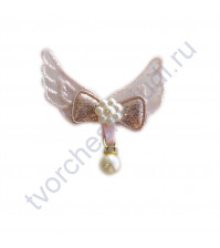 Аппликация Крылья с жемчужиной, 45х50 мм, цвет нежный розовый