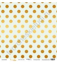 Бумага для скрапбукинга односторонняя с золотым тиснением 30.5х30.5 см, 190 гр/м, коллекция Every Day Gold, лист Golden Dots Mint