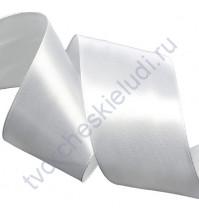 Лента атласная 50 мм, цвет белый-001, 1 метр
