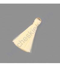 Декоративная кисточка из нитей, длина кисточки 3.5 см, 1 шт, цвет молочный