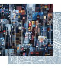 Бумага для скрапбукинга двусторонняя, коллекция GOрод GOворит, 30.5х30.5 см плотность 190г/м, лист Огни большого города