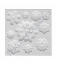 Форма силиконовая (молд) для полимерной глины, Набор Снежинки, 10 элементов, размер молда 8х8 см