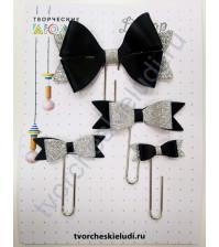 Набор декоративных Бантиков-1 на скрепках, 4 шт, цвет черный с серебром