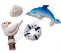 Набор декоративных элементов Морские декорации, полимерная смола, 2.5-3.5 см, 4 элемента