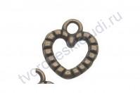 Подвеска металлическая Сердце-2, 14х12 мм, цвет бронза