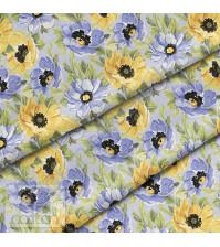 Ткань для рукоделия Цветы желто-фиолетовые, 100% хлопок, плотность 150 гр/м2, размер отреза 50х40 см