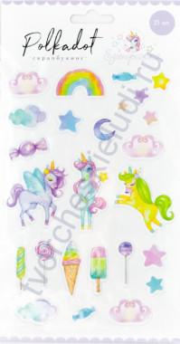 Набор паффи стикеров Единорожки, 25 элементов