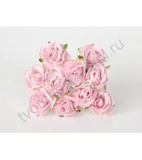 Кудрявые розы 3 см, 5 шт, цвет св.розовый