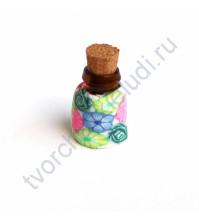 Стеклянная бутылочка с пробкой, 19х13 мм, цвет розово-голубые цветы на белом