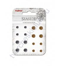 Набор хрустальных брадсов 16 шт, Море, кобальт, коричневый