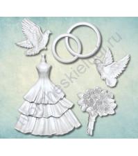 Форма силиконовая (молд) Набор Свадьба, 5 элементов