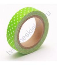 Тканевый скотч цвета Свежей зелени в горошек-49, 15ммх4м
