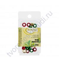 Набор люверсов 20 шт, 8х4.5х4.5 см, цвет красный, зеленый, золотой, бордовый