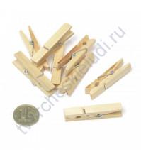 Прищепка деревянная 35 мм, цвет натуральный, 1 шт