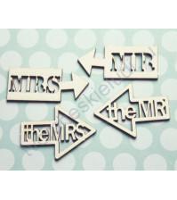 Чипборд надпись Mr and Mrs, 4 элемента