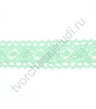 Тесьма вязаная (кружево) Ажурное, шир. 20 мм, цвет мятный, 1 метр