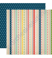 Бумага для скрапбукинга двусторонняя коллекция Its a Celebration Collection, 30.5х30.5 см, 180 гр/м, лист Festive Stripes