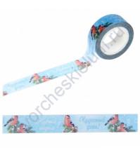 Бумажный скотч с принтом Снегири на голубом фоне, 1.5см х 10 м