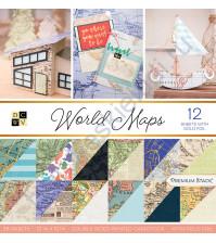 Набор двусторонней бумаги с фольгированием World maps, 30.5х30.5 см, 36 листов (ЦЕНА УКАЗАНА ЗА 1/2 ЧАСТЬ НАБОРА - 18 листов)