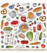 Бумага для скрапбукинга односторонняя коллекция Кулинарное искусство, 30.5х30.5 см, 190 гр/м, лист Вкусные элементы