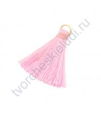 Декоративная кисточка из нитей, длина кисточки 3.5 см, 1 шт, цвет розовый