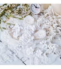 Цветы ручной работы из ткани Diamond, 10 шт, цвет белый
