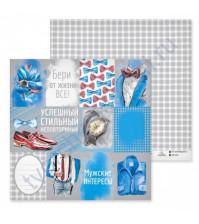Бумага для скрапбукинга двусторонняя, коллекция Карточки, 30.5х30.5 см, 180 гр/м2, лист Мужские интересы