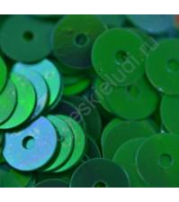 Пайетки плоские круглые с эффектом перламутр 6 мм, 10 гр, цвет зелёный