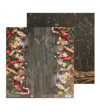 Бумага для скрапбукинга двусторонняя 30.5х30.5 см, 180 гр/м2, лист Роскошный праздник