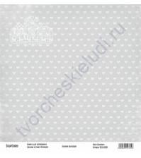 Бумага для скрапбукинга односторонняя, коллекция Базовая серая, 30х30 см, 250 гр/м2, лист Бантики