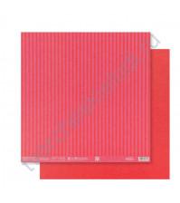 Бумага для скрапбукинга двусторонняя Базовая Полоска 30.5х30.5 см, 180 гр/м2, лист Красный