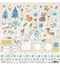 Бумага для скрапбукинга односторонняя 30.5х30.5 см, 190 гр/м, коллекция Волшебная страна, лист Лесные друзья