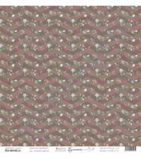 Бумага для скрапбукинга односторонняя, коллекция Бумажные птицы, 30.5х30.5 см, 190 гр\м2, лист Россыпь цветов