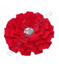 Цветок из ткани с хрустальной сердцевинкой, диаметр 8 см, цвет красный