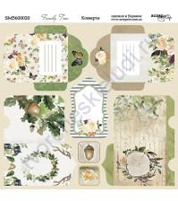 Бумага для скрапбукинга, коллекция Family Tree,  20х20 см, 190 гр\м2, лист Конверты