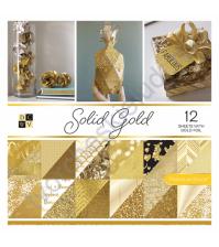 Набор двусторонней бумаги с фольгированием Solid gold, 30.5х30.5 см, 36 листов (ЦЕНА УКАЗАНА ЗА 1/2 ЧАСТЬ НАБОРА - 18 листов)