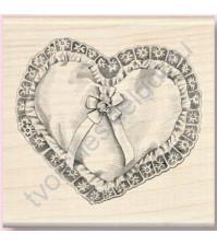 Штамп из резины на деревянной оснастке Heart Pillow (Подушечка-сердце), 7х7 см