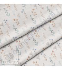 Ткань для рукоделия Колокольчики и клевер, 100% хлопок, плотность 150 гр/м2, размер отреза 33х80 см