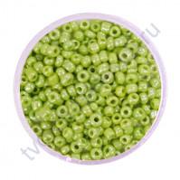 Бисер круглый непрозрачный жемчужный, диаметр 2 мм, 20 гр, цвет 0973-светлый зеленый